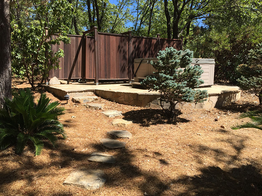 Path and low retaining wall